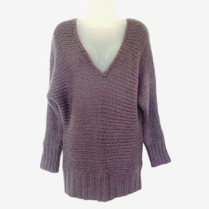 AEO Open Knit Purple V-neck Tunic Sweater, size M
